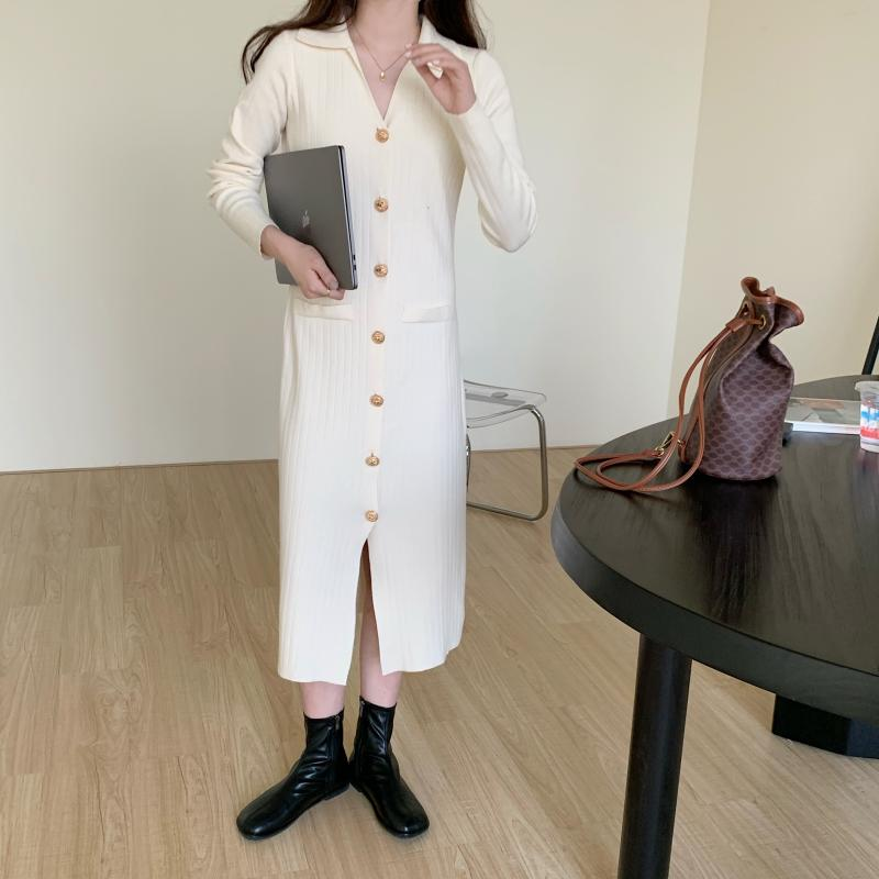 H698fb60ad3bc4c3db84d92ef24a7aa86o - Autumn Turn-Down Collar Soft Slim Solid Long Sweater Dress