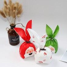 메리 크리스마스 산타 클로스 토끼 긴 귀 과자 파티 goodie 가방 포장 케이크 선물 가방 애플 포장 캔디 쿠키 선물