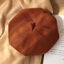 Hats Painter-Caps Beret Octagonal Women Ladies Autumn Solid for Plain Casual Wool New