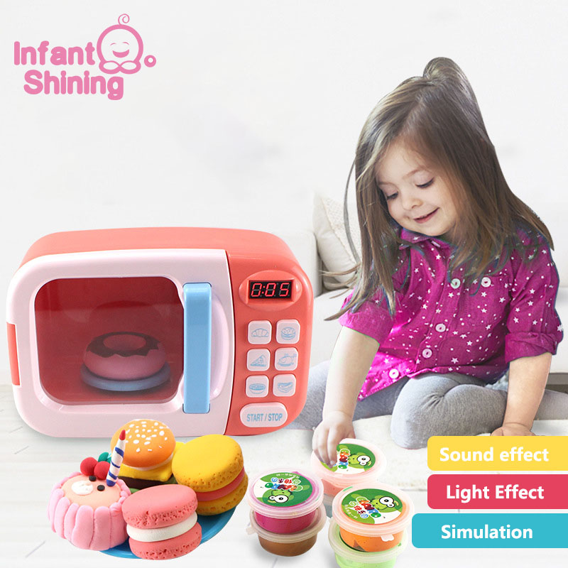Infant Shining Kitchen Toys Simulation Microwave Oven Toys Fun Pretend Toys Set Children Girls Kids Education Toy Gift