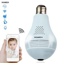 INQMEGA 360 градусов светодиодный светильник 960P Беспроводная панорамная Домашняя безопасность WiFi CCTV рыбий глаз лампа ip-камера в форме лампы два способа аудио