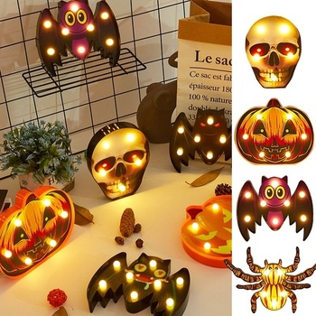 Halloween Holiday Home Decorative Led Lights Diwali Styling Lamp Night Light Helloween Spider Bat Pumpkin Ghost Skull Lights image