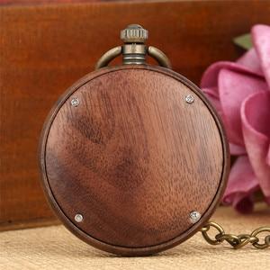 Image 5 - New Fashion 2019 Wooden Pocket Watch Full Wood Case Quartz Movement Antique Bronze Pendant Necklace Chains Gifts Men Women