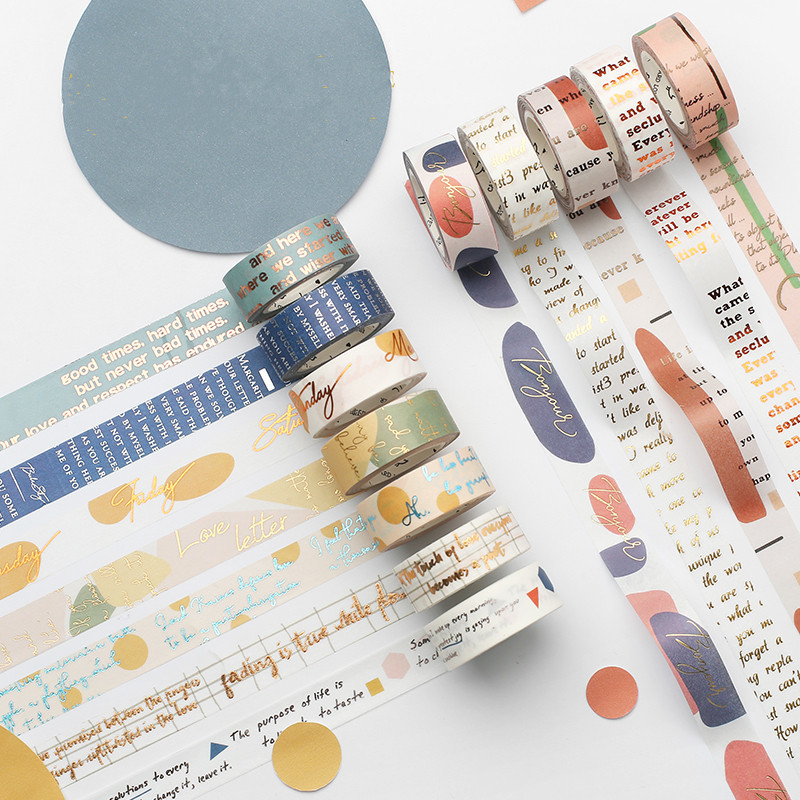 Glitter Masking Tapes Washi DIY Scrapbooking Craft Paper Japanese Stationery Decorative Adhesive Tape Roll School Supplies
