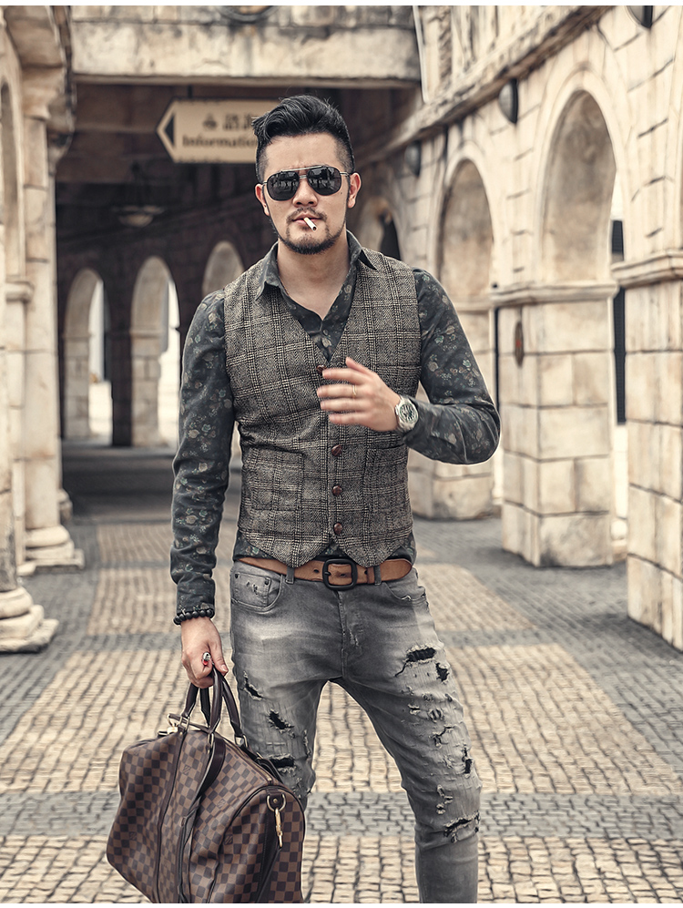 Vintage/Denim Wool Tweed Jacket Men's Suit Vest Plaid Classic Gentlemen V Neck Waistcoat Vest For Wedding Groomsmen Gilet Homme