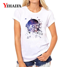 Women T-shirt 3D Print Painted Purple Starry Butterfly Graphic Tee Casual Lady Summer White T Shirts Short Sleeve Couple Tops