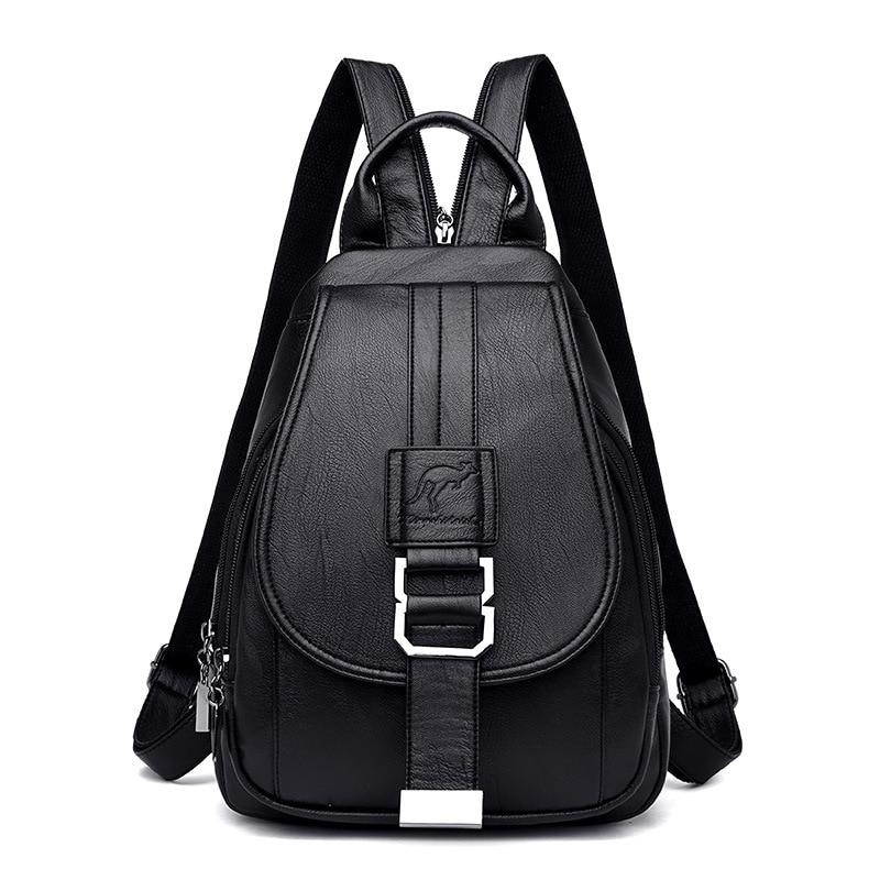 Women Leather Backpacks Vintage Female Shoulder Bag Sac A Dos Travel Ladies Bagpack Mochilas School Bags Girls Preppy Bookbag