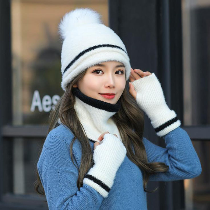 Calymel 2019 New Knitted Hat Scarf Gloves Set 3pcs/set Autumn And Winter Woman And Velvet Thicken Wool Hat  Windproof Warm Set