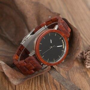 Image 5 - בובו ציפור M16 אדום אלמוג אנלוגי שעון עם עץ בציר שעון ורצועה עבור גברים יכול מותאם אישית כמתנה