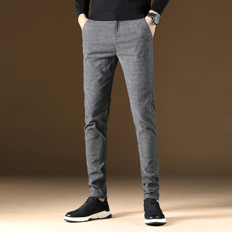 High Quality Summer New Straight Men's Pants Korean Fashion Casual Cotton Homme Slim Trousers Male Plaid Joggers Pants