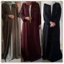 Abaya musulmano Vestito Che Borda Cardigan Perle Tunica Lunga Vestaglie Kimono Jubah Ramadan Arabo Turco Thobe Islamico di Preghiera Abbigliamento