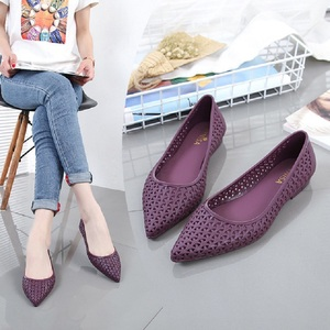 Summer Casual Fashion Shallow Hollow Women Beach Sandals Cover Heel Flat Heels Pointed Toe Cut Out Mesh Lady Jelly Shoes 190829(China)