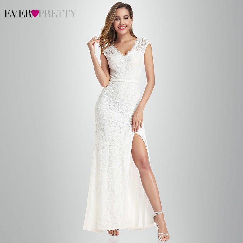 Vestido De Noiva Lace Mermaid Wedding Dresses Ever Pretty EP00933CR A-Line V-Neck Split Sexy Formal Bride Dresses Gelinlik 2020