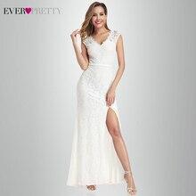 Vestido De Noiva Lace Mermaid Wedding Dresses Ever Pretty EP00933CR A-Line V-Neck Split Sexy Formal Bride Gelinlik 2019