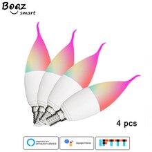 Boaz Smart LED E14 E12 E26 E27 Candle Light Bulb Wifi Remote Voice Control Dimmable RGBCW Alexa Echo Google Home Tuya