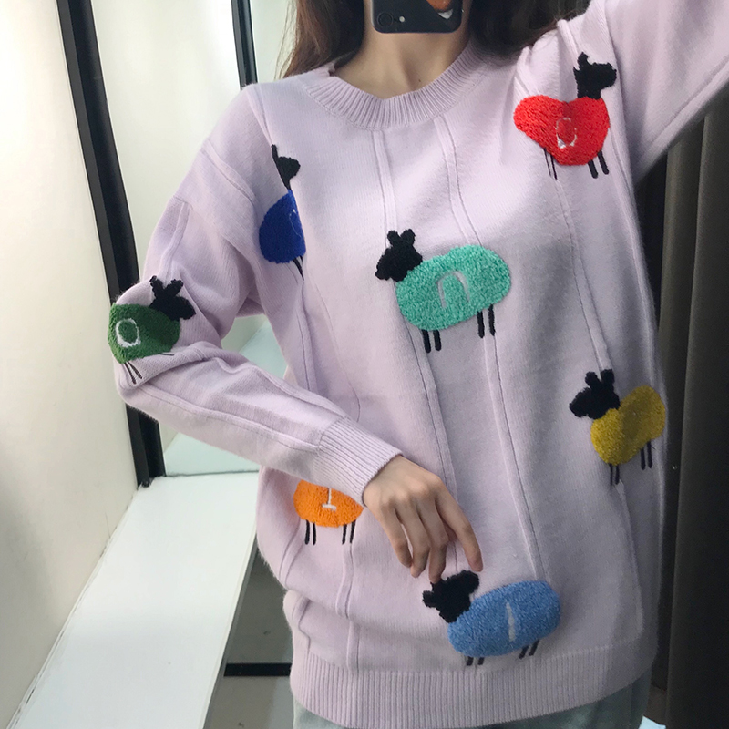 INS Popular Thick Women Sweater With Contrast Color Sheep Pattern Towel Embroidery Lilac Long Sleeves Knitted Pullover Sweater