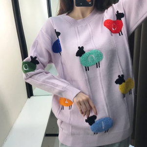 Image 1 - INS Popular Thick Women Sweater with Contrast Color Sheep Pattern Towel Embroidery Lilac Long Sleeves Knitted Pullover Sweater