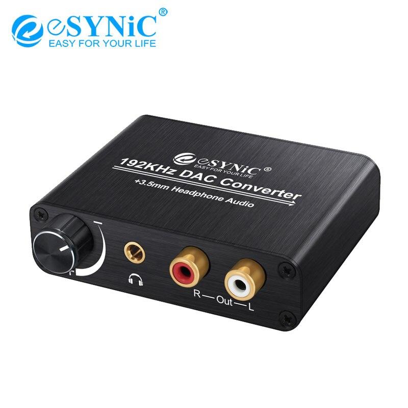 ESYNiC Digital para Analógico Conversor Adaptador de Áudio Com Controle de Volume Botão de Alimentação Adaptador DAC Óptico para RCA 3.5 MILÍMETROS para AMP