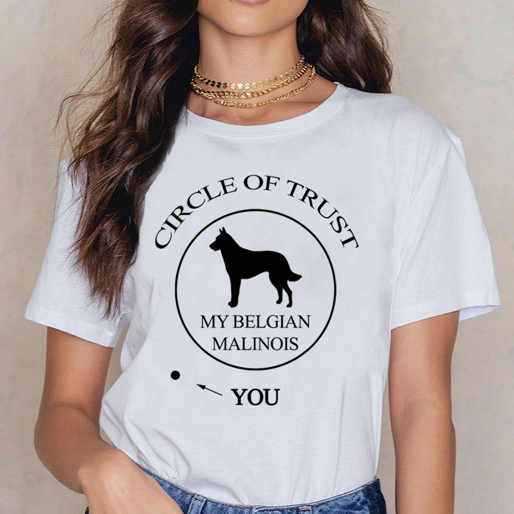 Tops T Shirt Women Funny Belgian Malinois Dog Womens 34 Sleeve  Funny White Custom Female Shirt