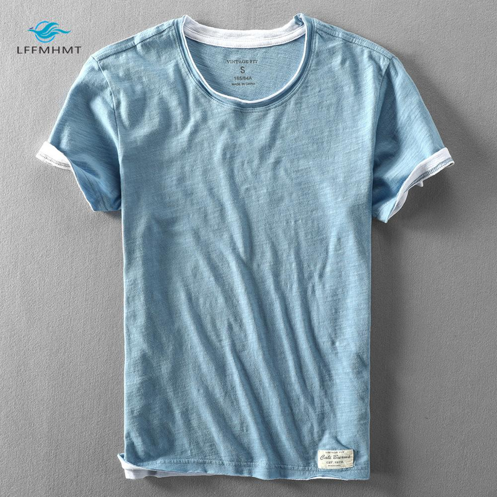 Men Summer Fashion Brand Japan Style Bamboo Cotton Solid Color Short Sleeve T-shirt Male Casual Simple Thin White Tee Tshirts