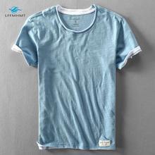 男性の夏のファッションブランド日本スタイル竹綿無地半袖tシャツ男性カジュアルシンプルな薄型白tシャツtシャツ