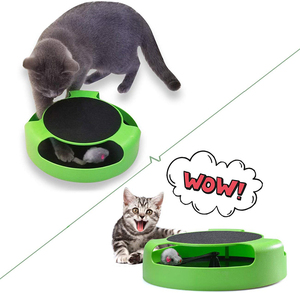 Image 2 - MESNUG 2 In1 Cat Toys Interactive With Running Mice And Scratching Pad Durable Safe Kitten Cat Game Exercise No Battery Needed
