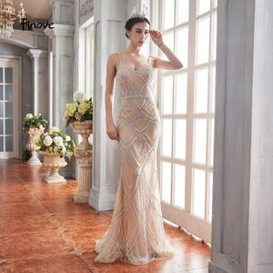 Image 4 - Finove New Design 2020 Mermaid Evening Dresses Tulle With Beading Sexy V Neck Spaghetti Strap Long Formal Dress For Women