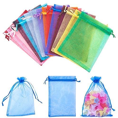 150 шт 15 Цвет 5x7 дюймов органзы мешки для ювелирных изделий, мешочек Сумки органза бархата шнурок свадебной конфеты подарочные пакеты