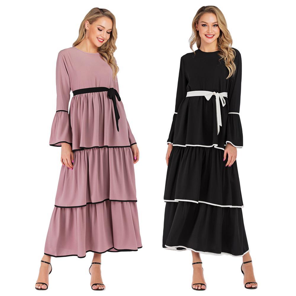 Femmes musulmanes Abaya manches longues Maxi robe Robes en couches turquie dubaï vêtements islamiques arabe Flare manches drapées conception de mode