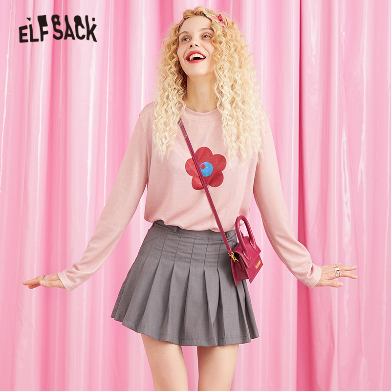 ELFSACK Pink Floral Print Korean Style Long Sleeve Shirt Women Top 2019 Autumn Preppy Slim Fit Casual Ladies T Shirt