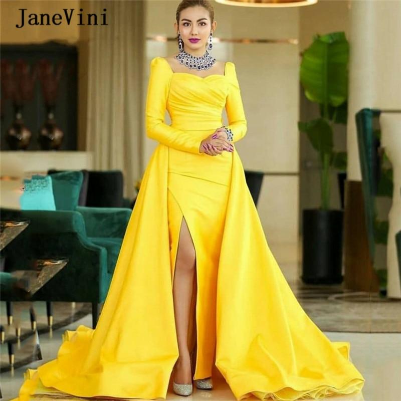 JaneVini Elegant Arabic Long Sleeve Mermaid Prom Dress for Women Square Collar Side Slit Vestidos Compridos Satin Yellow Dresses