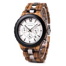 Часы мужские деревянные кварцевые с хронографом, в стиле милитари