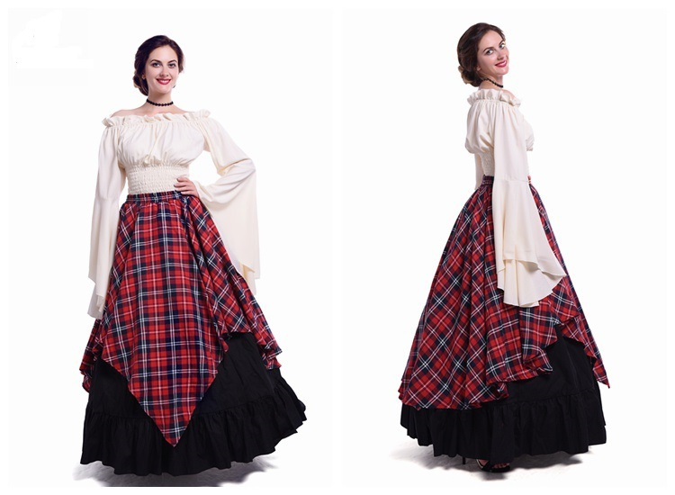 2018 New Style Party Europe And America Long-sleeved Dress Female Literature And Art Renaissance Medieval Clothing