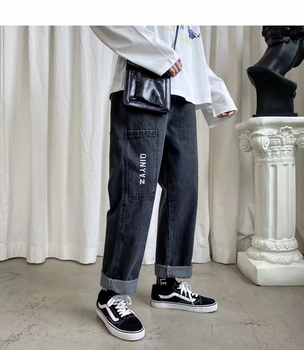 Men Jeans Pants Straight Leg Youngster Elastic Drawstring Waistband Youthful Vitality Boy Casual Ver