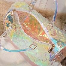 Short-Distance Travel Bag For Women 50CM PVC Holographic Luggage Transparent Classic Print Rainbow Laser Gril Sport Handbag Sac