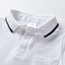 Лидер продаж, Детские рубашки поло с короткими рукавами белого цвета для мальчиков кардиган из чистого хлопка, футболка с короткими рукавами детская футболка с отворотом