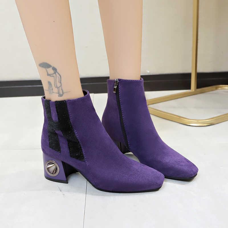Meninas 6 cm grosso salto alto tornozelo botas moda senhoras botas curtas inverno manter quente cristal decoração sapatos femininos roxo preto