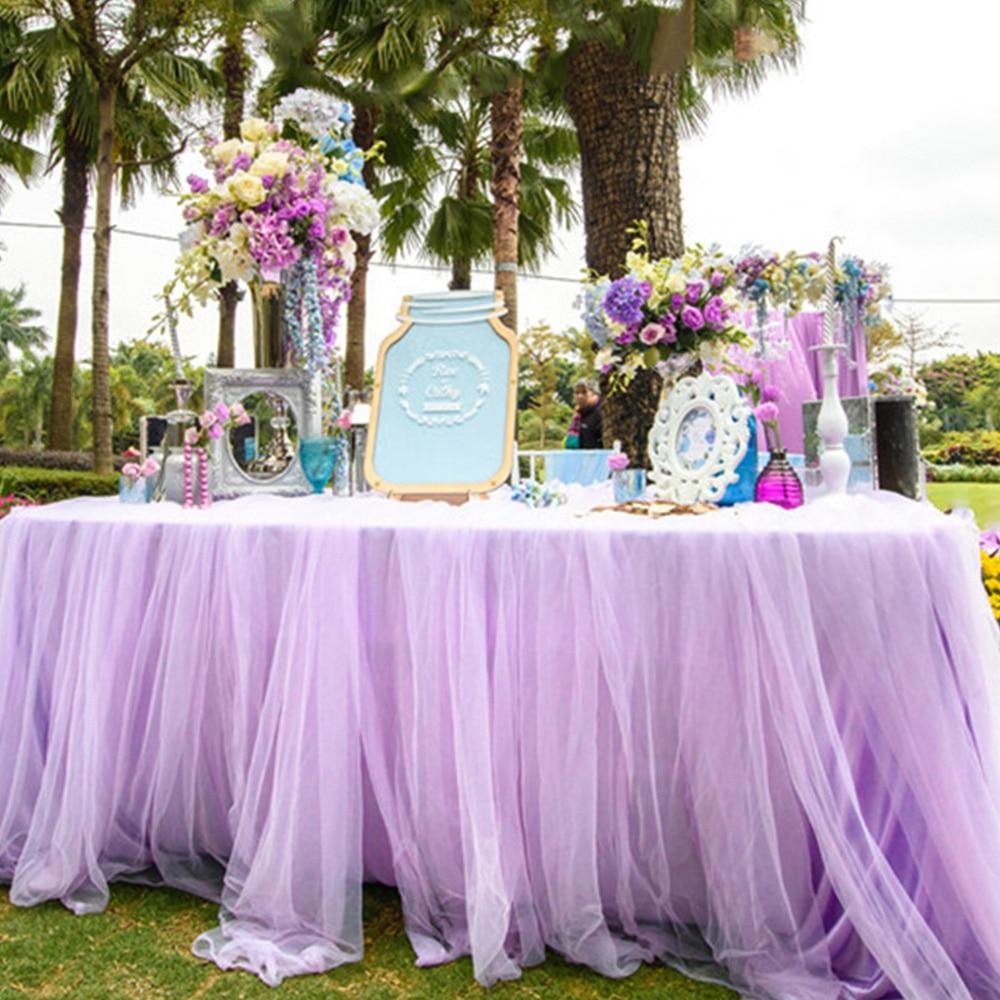 Wedding Table Cloth Skirt Party Birthday Festive Baby Shower Snow Yarn Decor New