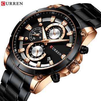 CURREN Top Brand Luxury Men Watches Sporty Stainless Steel Band Chronograph Quartz Wristwatch with Auto Date Relogio Masculino - discount item  50% OFF Men's Watches