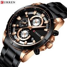 Часы наручные CURREN Мужские кварцевые спортивные, брендовые Роскошные с хронографом и браслетом из нержавеющей стали, с автоматической датой