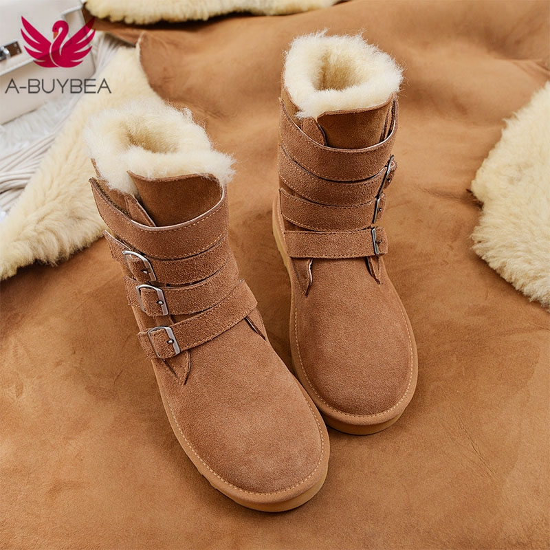 Cow Suede Women's Snow Boots Warm Long Wool Fur Plush Winter Female Ankle Boots Buckle Flat Heels Ladies Waterproof Footwear