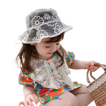 Toddler Girls Bucket Cap Summer Floral Hats Holow Out Wide Brim Lace Floral Sun Hat for Children Caps toddler girls bucket cap summer floral hats holow out wide brim lace floral sun hat for children caps