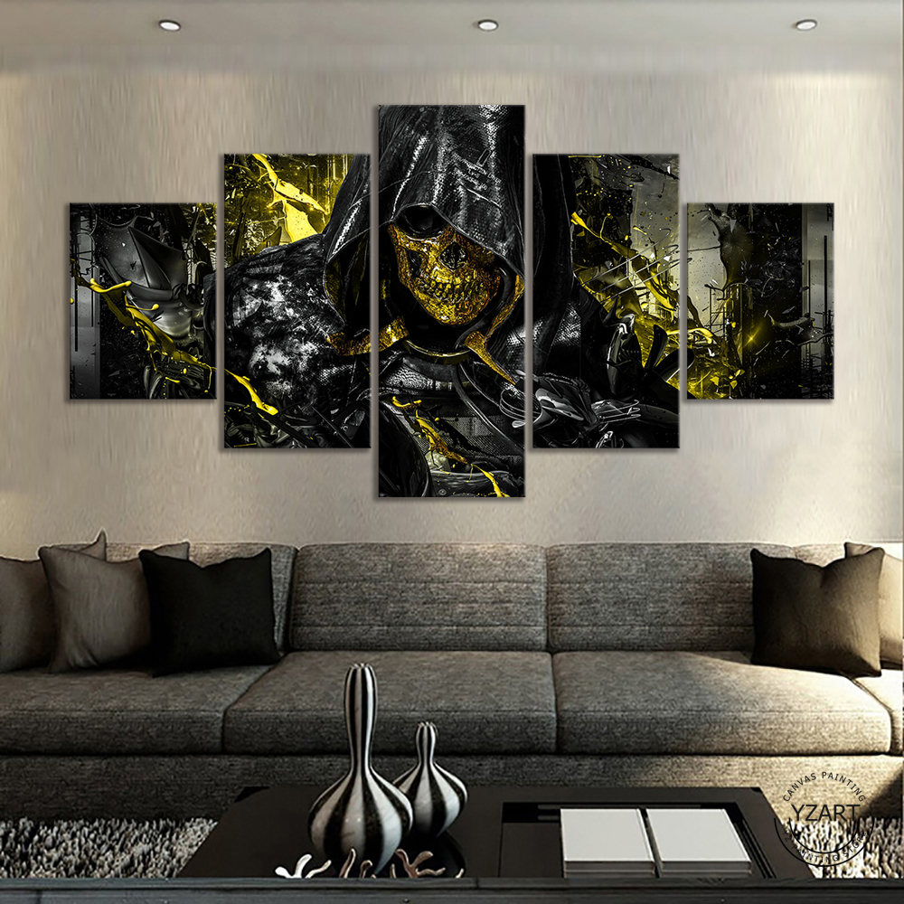 5 Piece Death Stranding Higgs Skull Mask HD Game Poster Canvas Painting Bedroom Living Room Decoration 2
