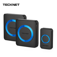 TeckNet Wireless Doorbells Twin Waterproof Wall Plug in Cordless Door Bell Chime 300M Range 52 Chimes 4 Level Volume Blue Light