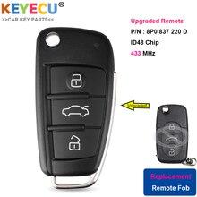 KEYECU משודרג Flip מרחוק רכב מפתח עבור אאודי A3 S3 A4 S4 TT, fob 3 כפתורים 434 MHz ID48 שבב P/N: 8P0 837 220 D, 8P0837220D