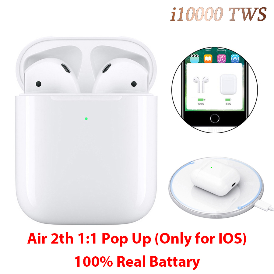 i10000 TWS Bluetooth 5.0 Earphone Pop Up 1:1 Replica Air 2 Earbuds i10000tws Wireless Charging Earphones PK i12 i500 i9999 TWS