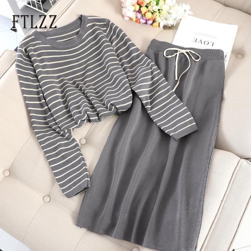 Woman Two Piece Set Clothes Autumn Fashion Stripe Shirt Top + Slim Skirt Knitted Suits New 2019 Autumn Women 2 Pcs Sets
