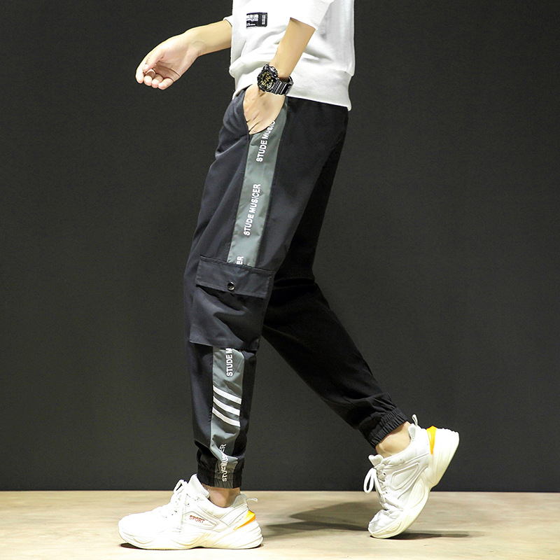 Spring New Style Bib Overall Men's Casual Joint Loose-Fit Beam Leg Gymnastic Pants Teenager Printed Pants