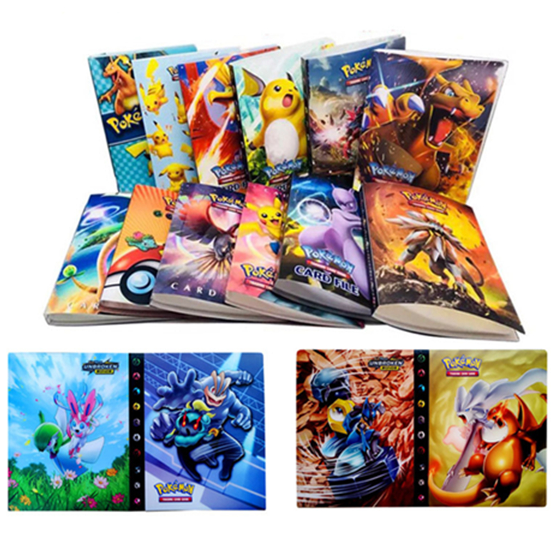 24 Styles Anime Cartoon Holder Album Collection Pokemon Cards Album Book Book Top For Kids Toys Gifts Can Put 240pcs Game Cards