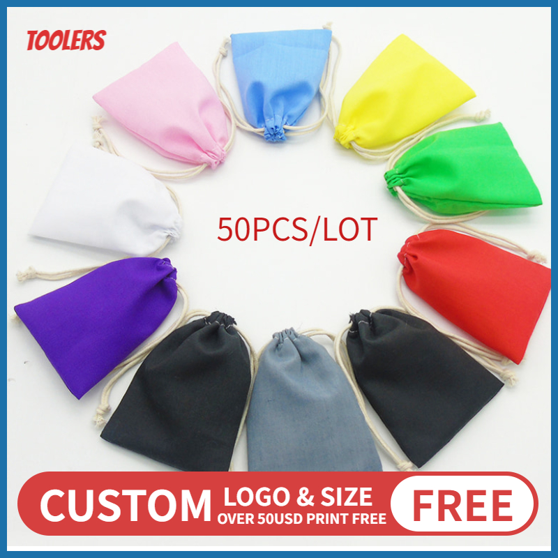 50p 10x15/15x20/20x30cm Polyester Cotton Cloth Drawstring Bag Cosmetic Shoes Clothes Handbag Storage Package Pocket Custom Logo